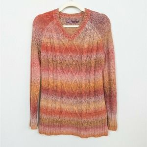 PRANA Leisel Red Orange Sweater Cabled Knit S